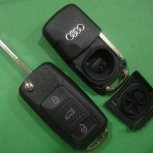 Audi — корпус выкидного ключа 3 кнопки, HU66 (new)